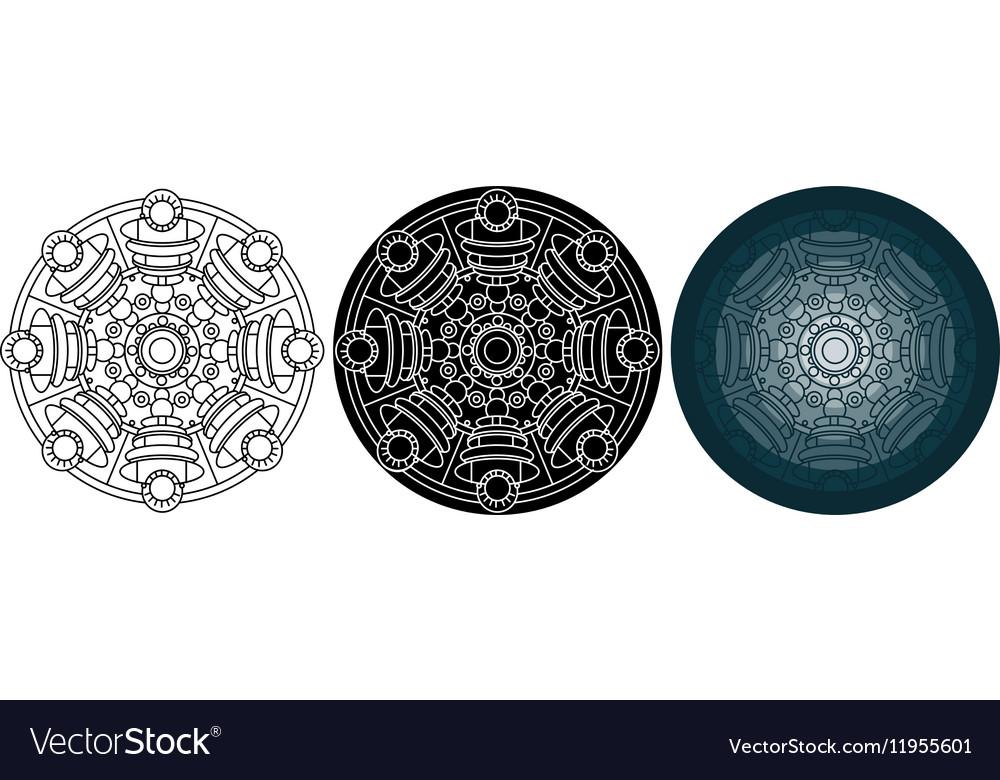 Cosmic mandala for coloring book