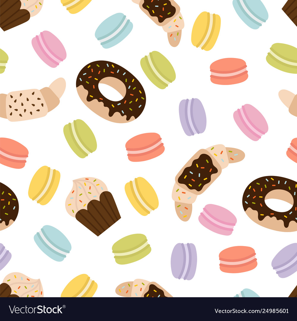Cute seamless pattern with french macaroons