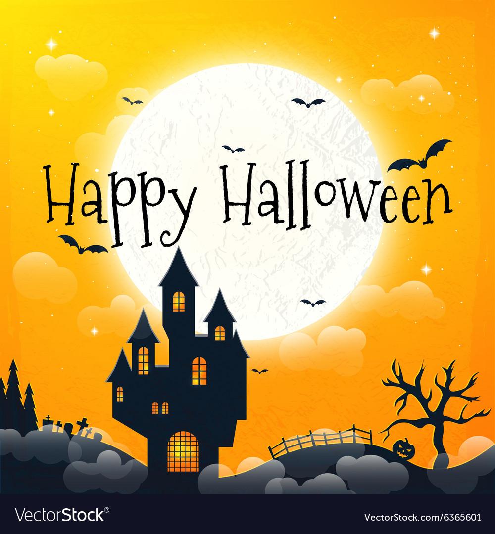 Dark house on blue full moon happy halloween