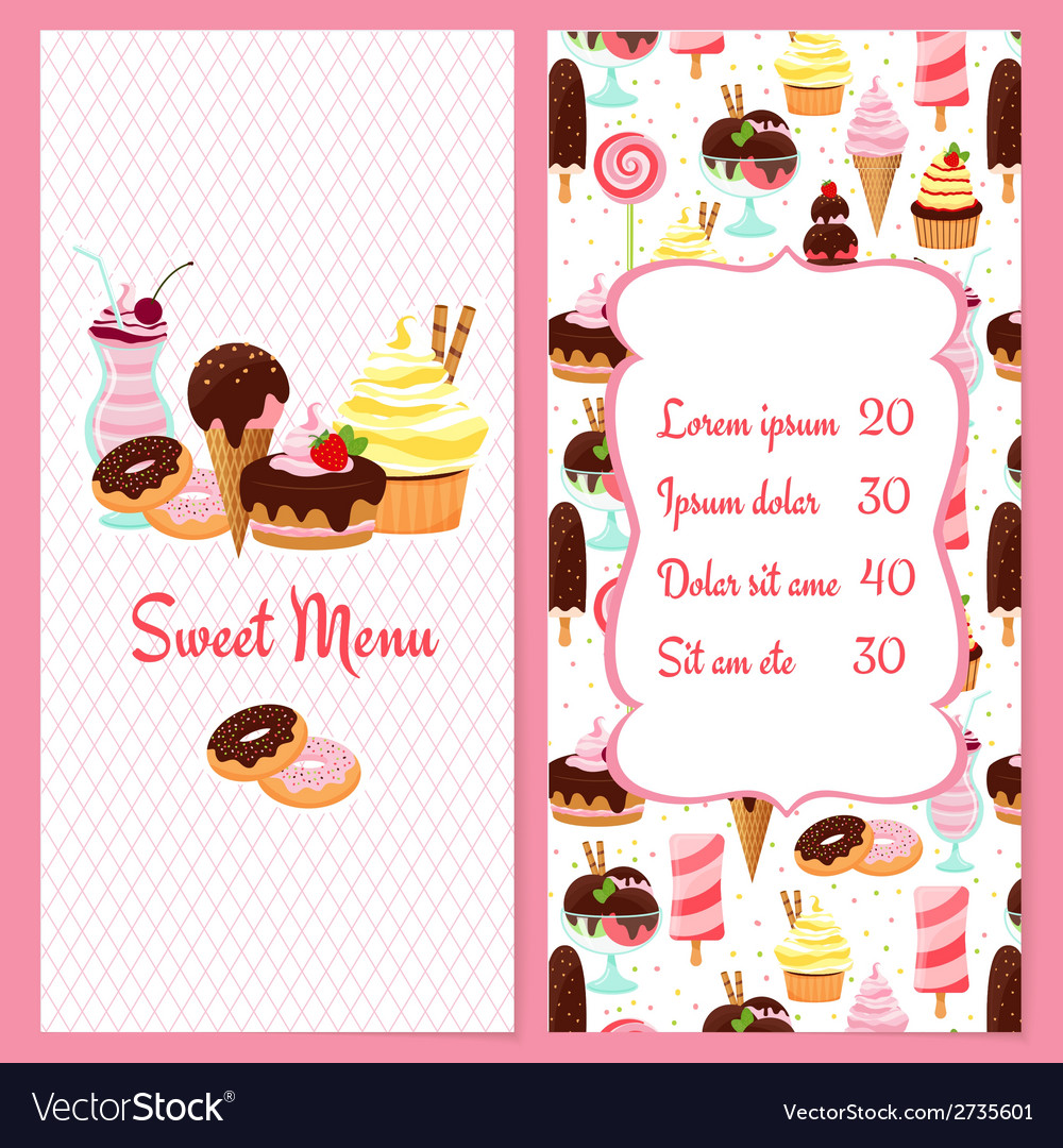 dessert menu template royalty free vector image