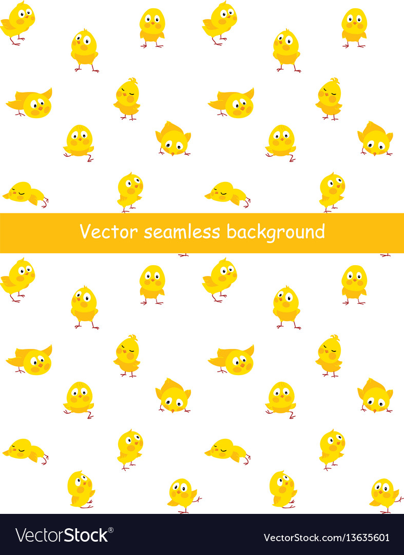 Easter seamless pattern with funny chicks