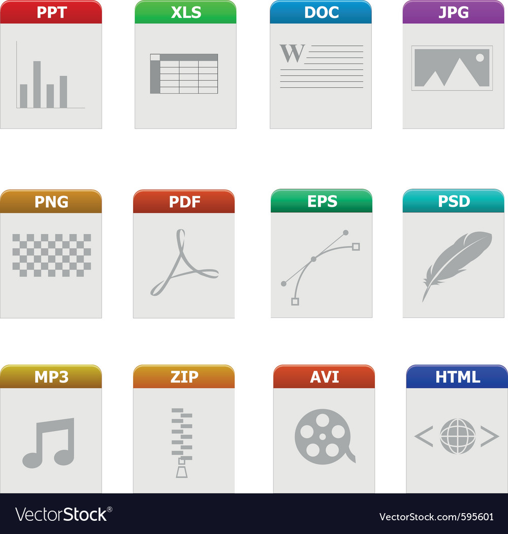 file type icons royalty free vector image vectorstock