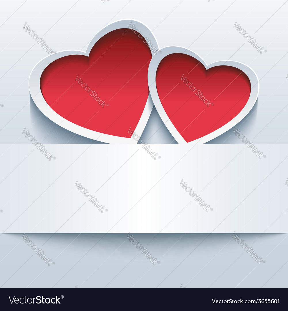 Love background with two 3d hearts