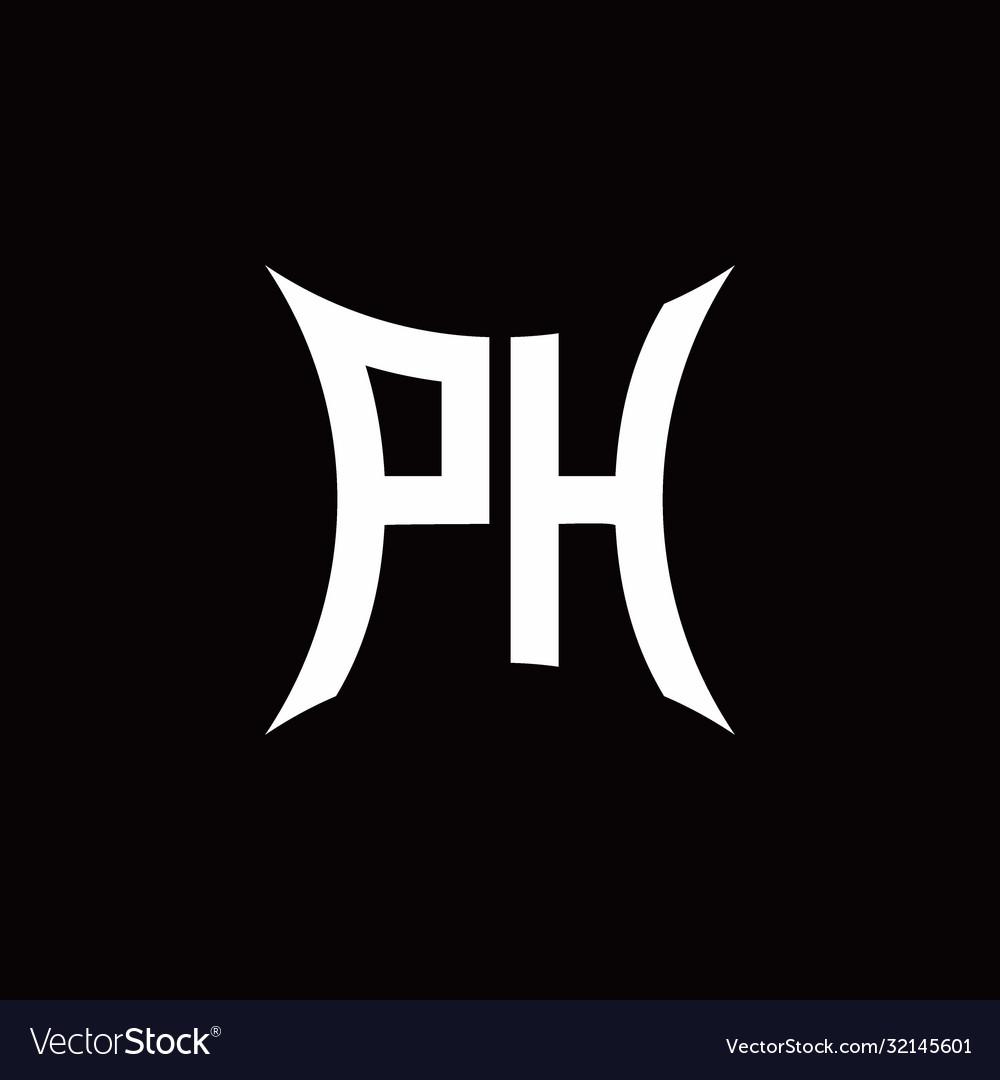 Ph Monogram Logo With Sharped Shape Design Vector Image