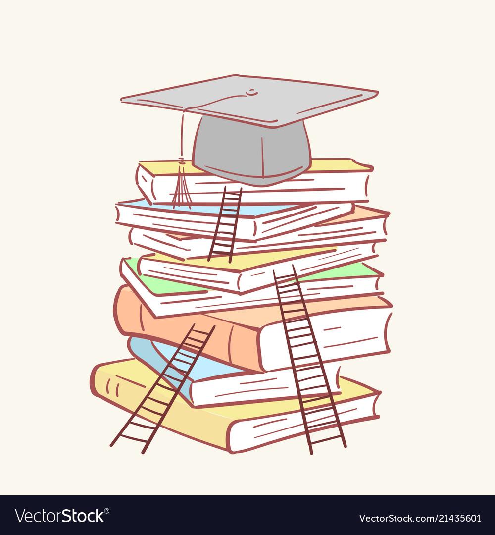 Pile stack ladder graduation academic cap books