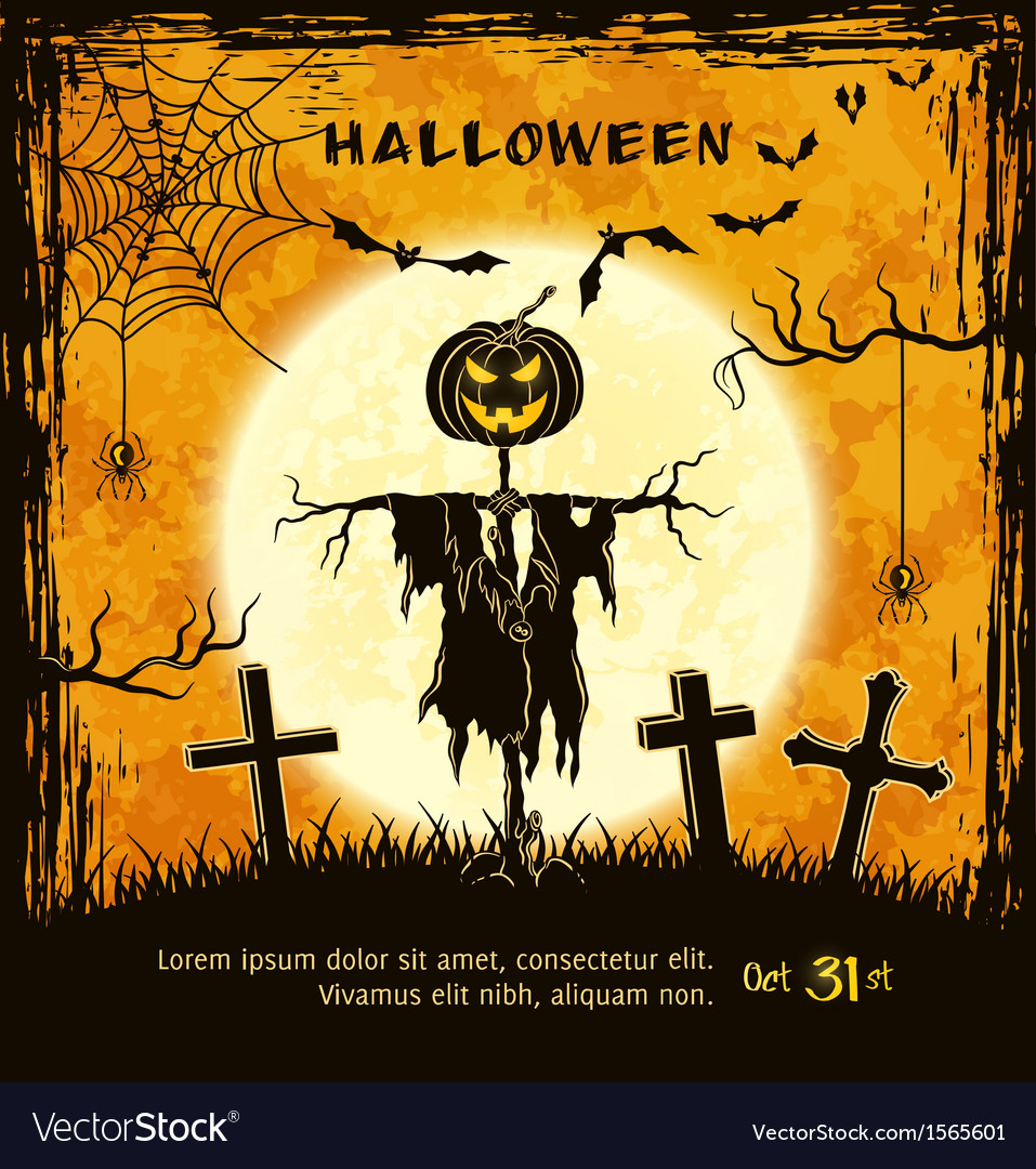 Superb Spooky Card For Halloween Vector Image