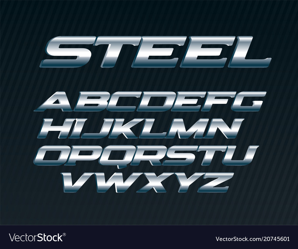 Steel font metal letters set chrome alphabet