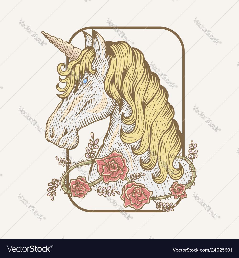 Unicorn flower hand draw