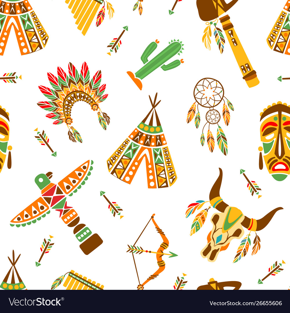 American indians seamless pattern ethnic tribal
