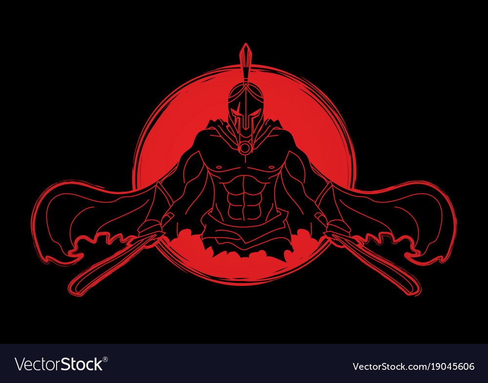 Angry Spartan Warrior With Swords Royalty Free Vector Image