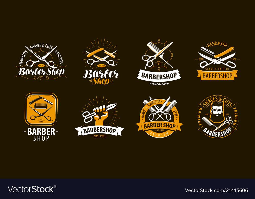 Barbershop set of labels or emblems