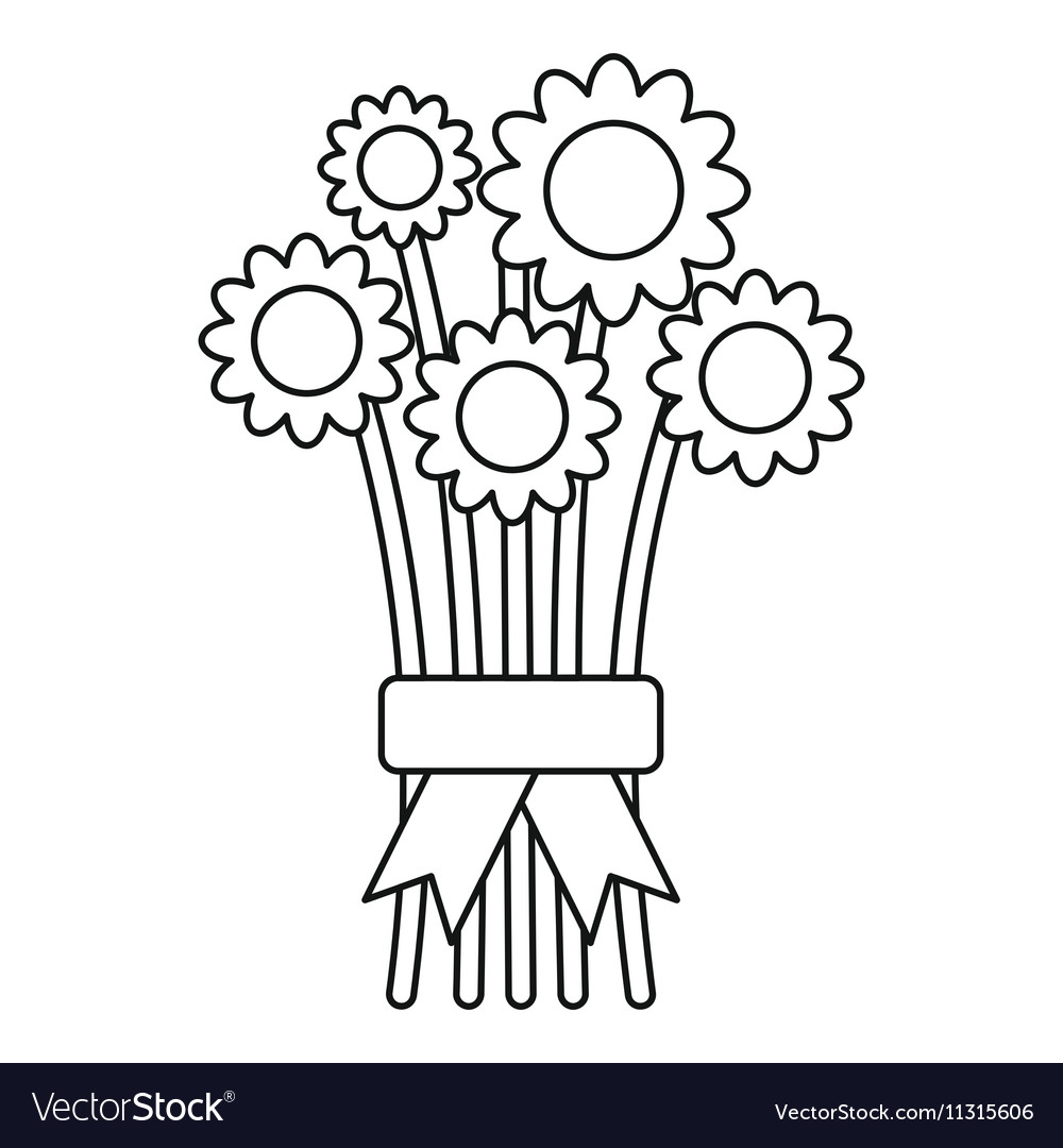 Bouquet of flowers icon outline style royalty free vector bouquet of flowers icon outline style vector image izmirmasajfo