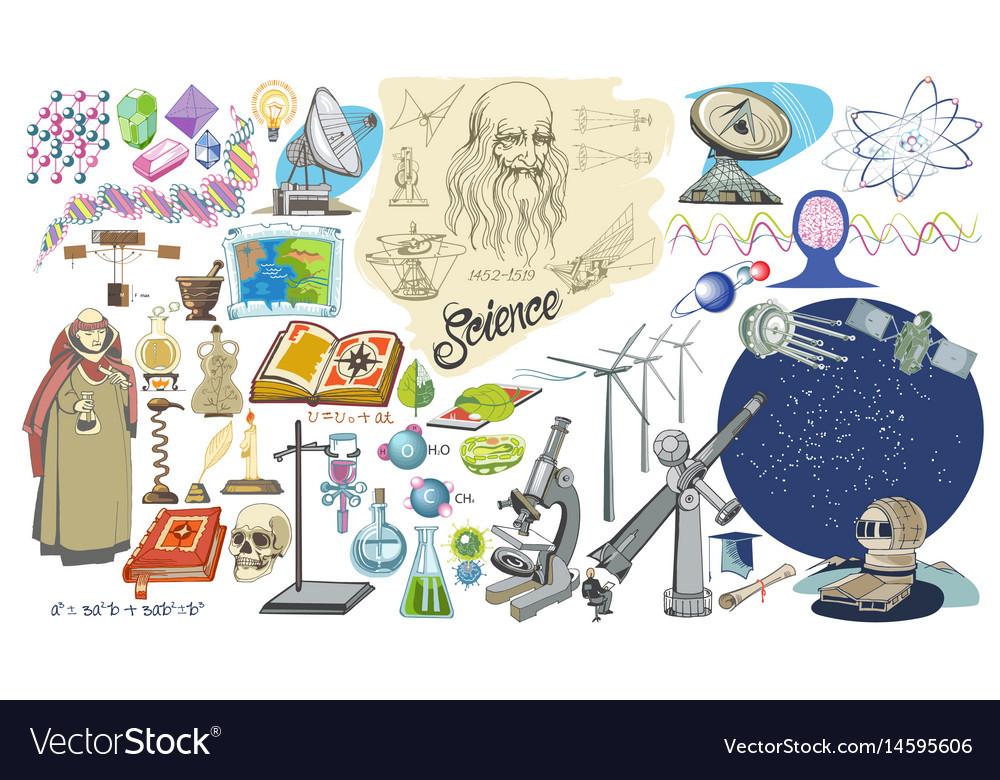 Colored doodle scientific elements set