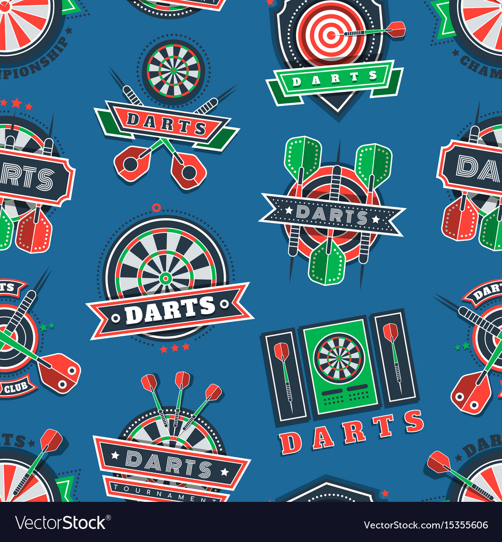 Darts tournament icons and badges seamless pattern