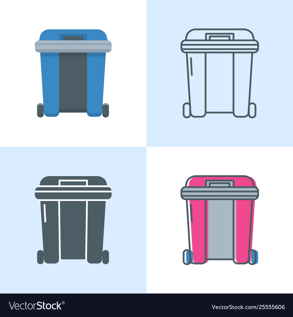 Dumpster icon set in flat and line style