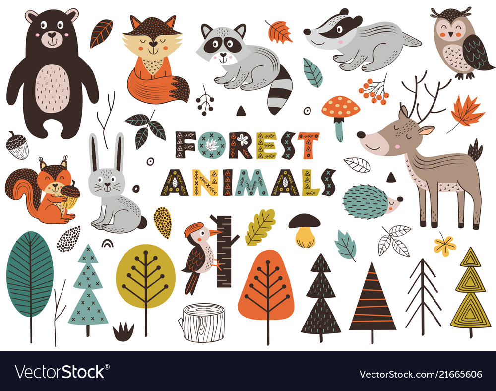 Forest animals and plants in scandinavian style