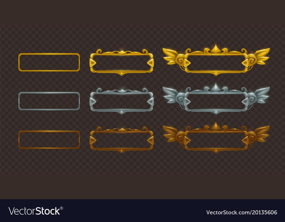 Golden silver and bronze frames set