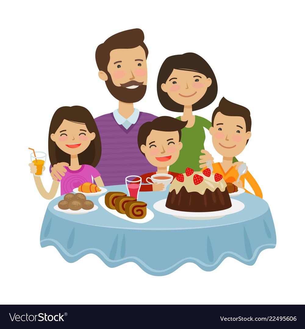 Happy family celebrating holiday concept cartoon