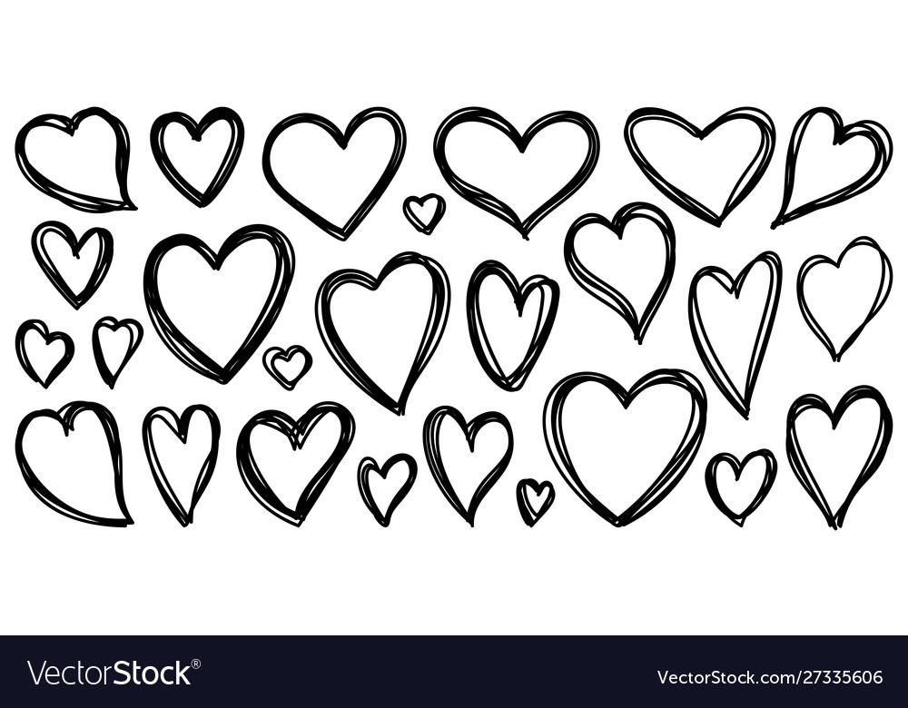 Heart hand drawn valentines doodle love set