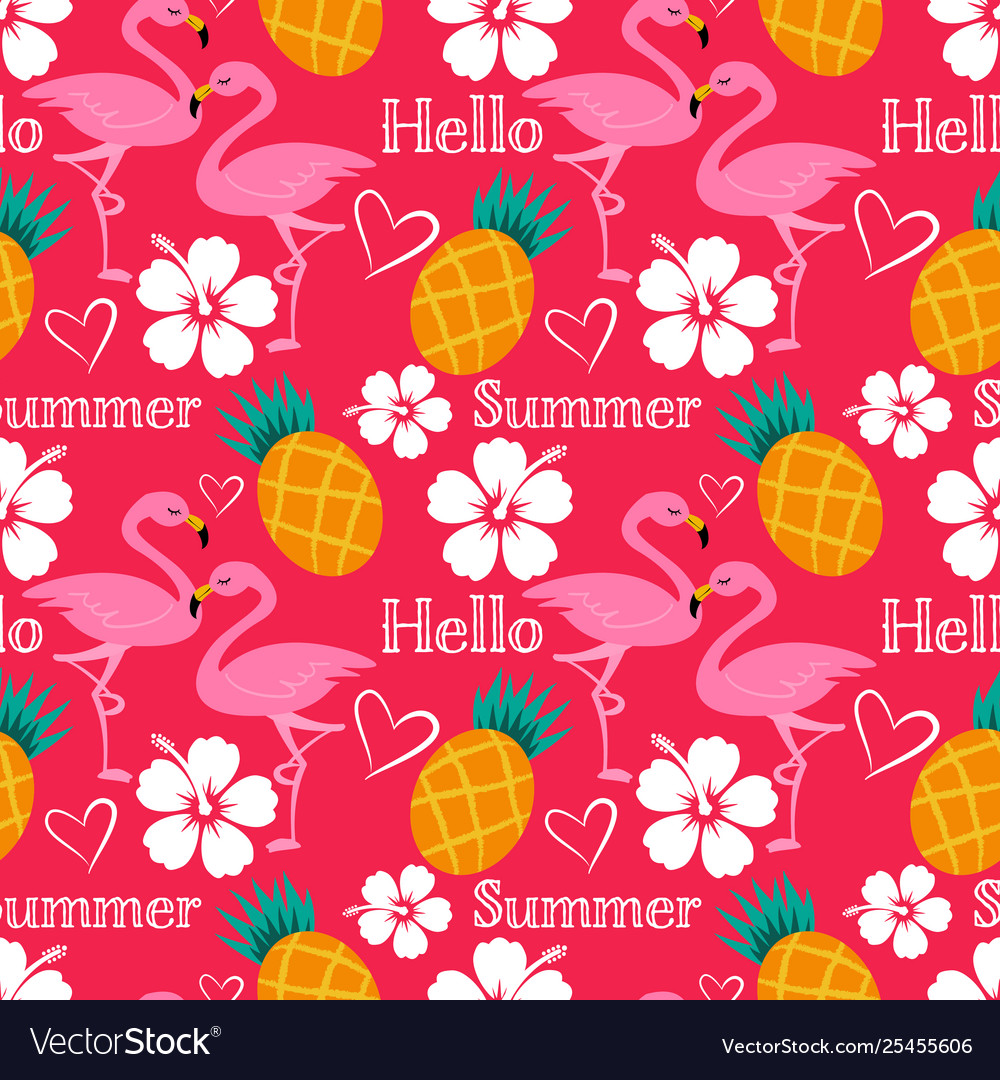 Hello summer seamless pattern with flamingo