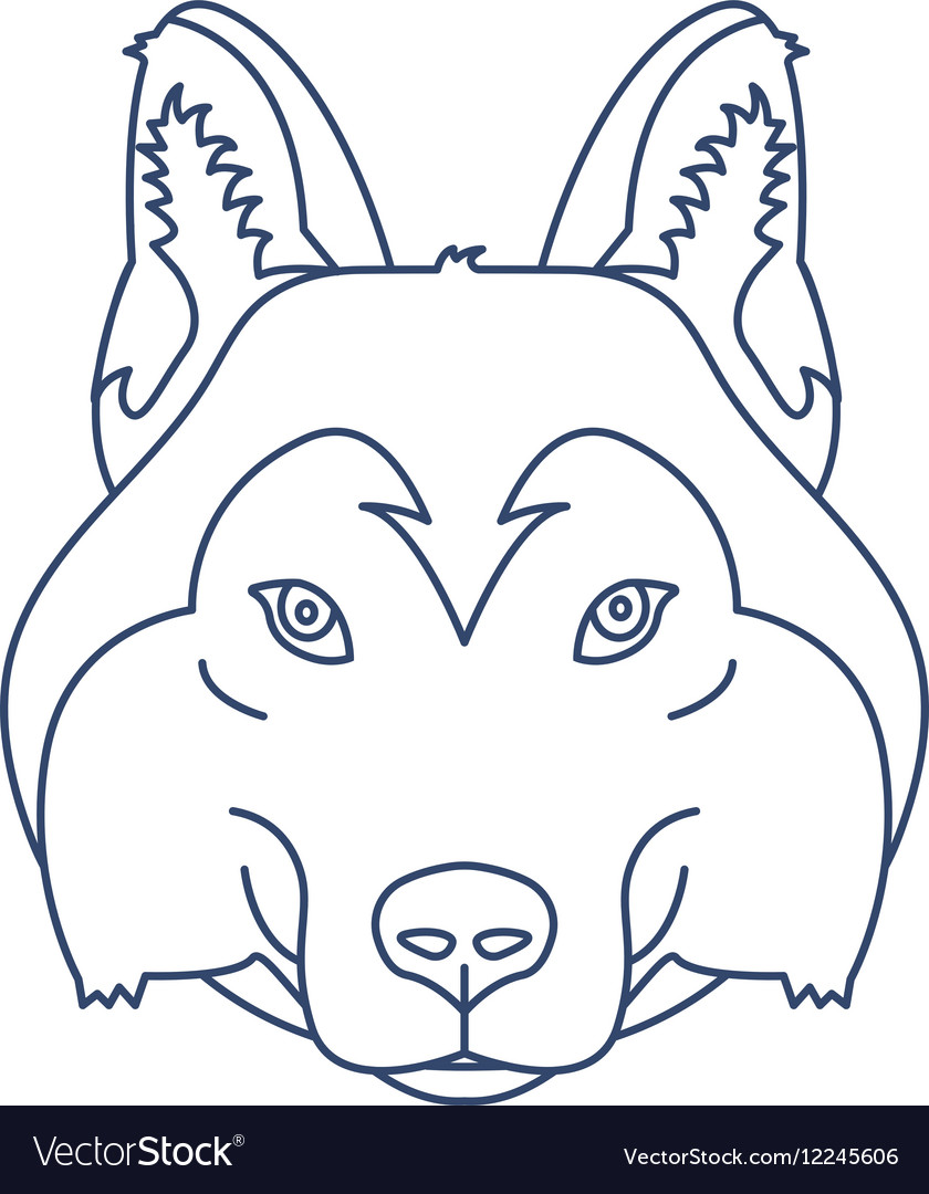 Husky or wolf head icon Flat line