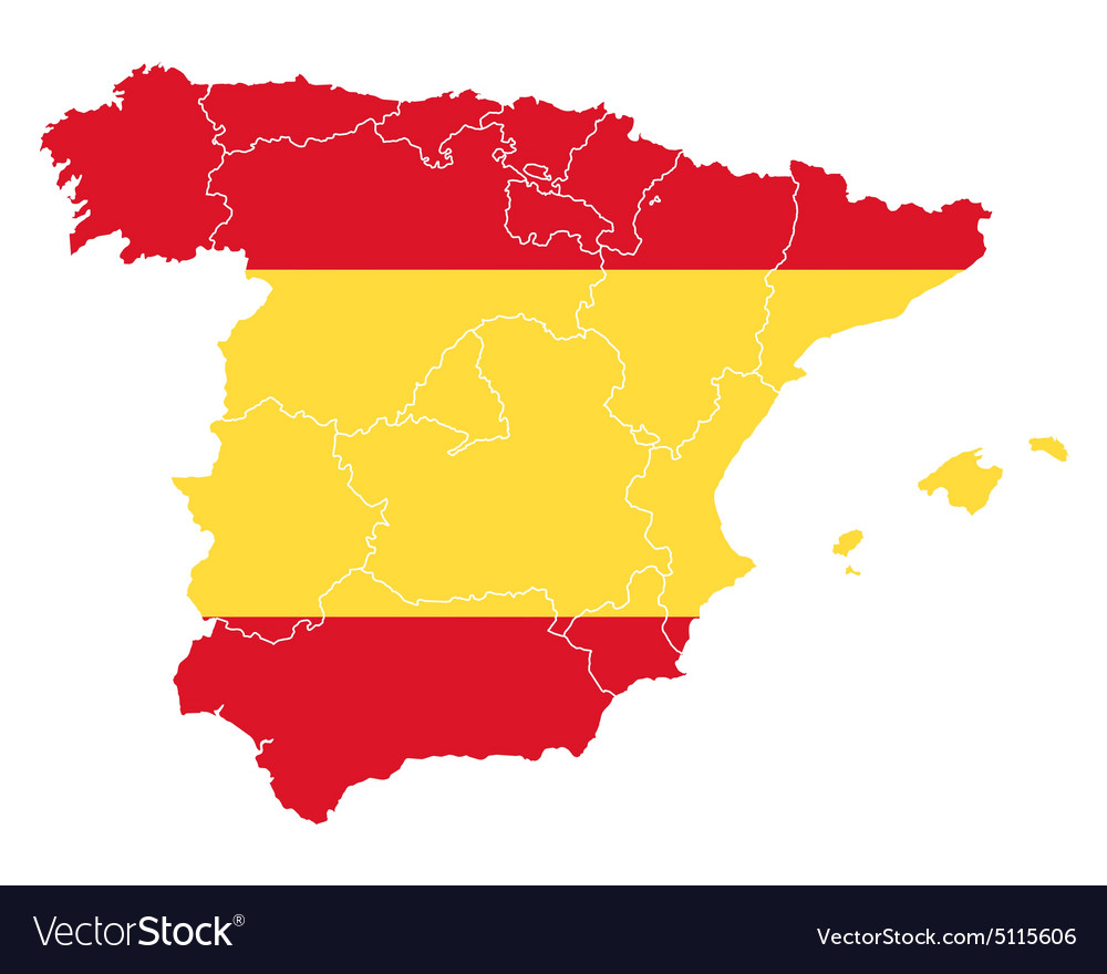 Spain Map Flag.Map And Flag Of Spain Vector Image On Vectorstock