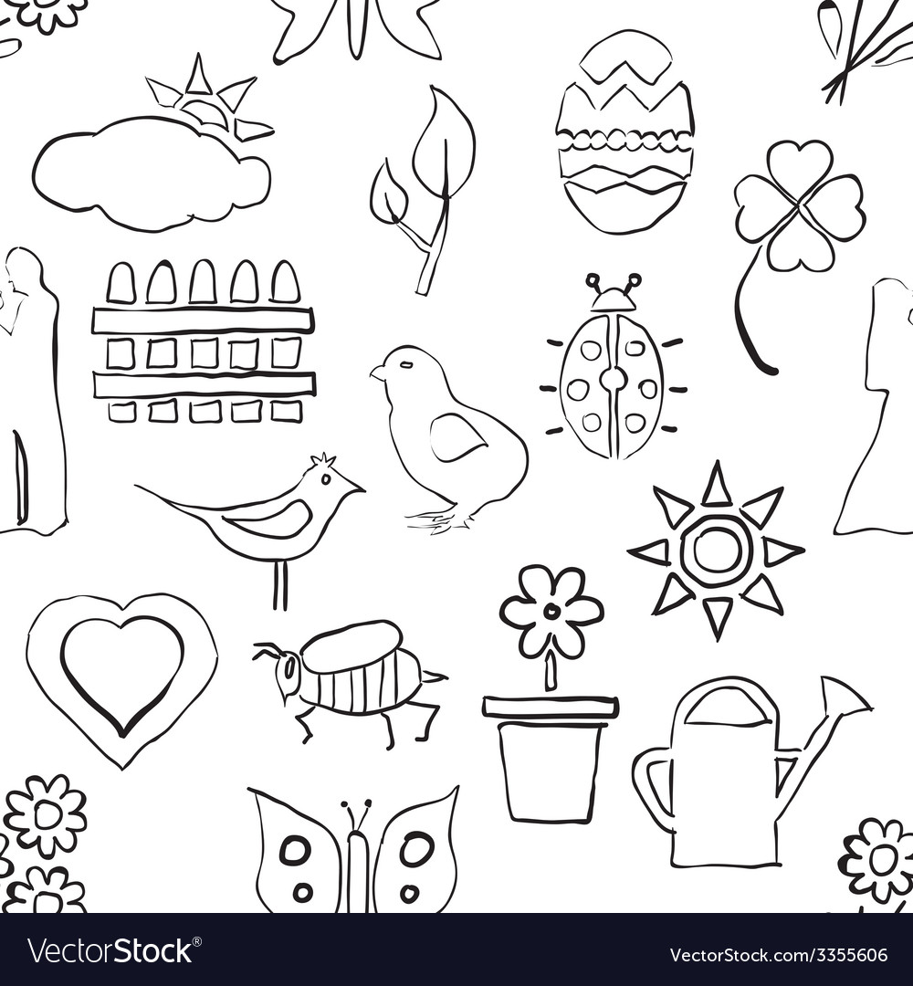 Seamless sketch spring pattern vector image