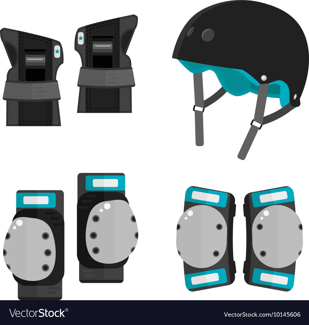 Set of flat roller skating protective gear