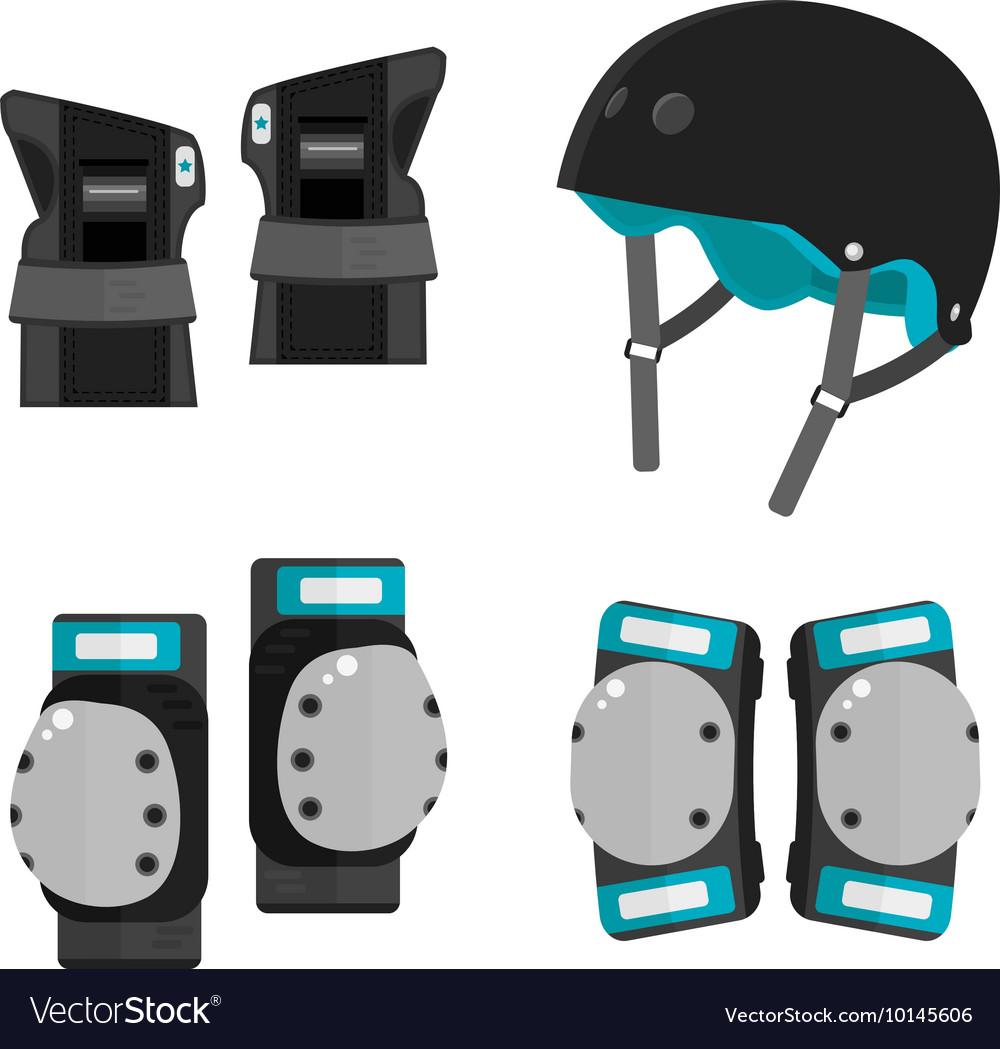 Set of flat roller skating protective gear vector image