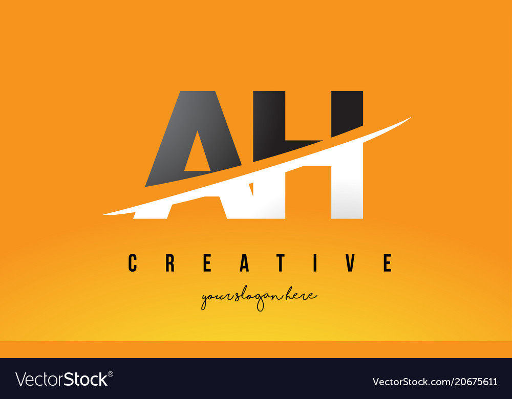 Ah a h letter modern logo design with yellow
