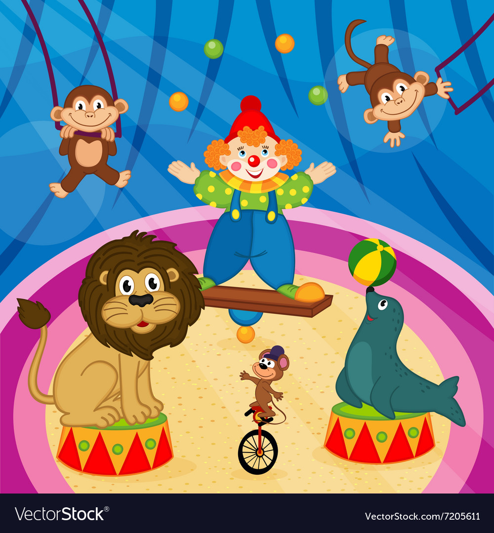 Arena in circus with animal and clown