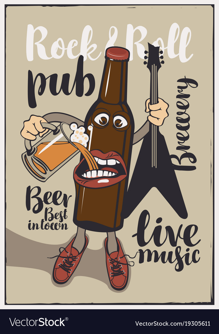 Banner for rock n roll pub with funny beer bottle vector image publicscrutiny Image collections
