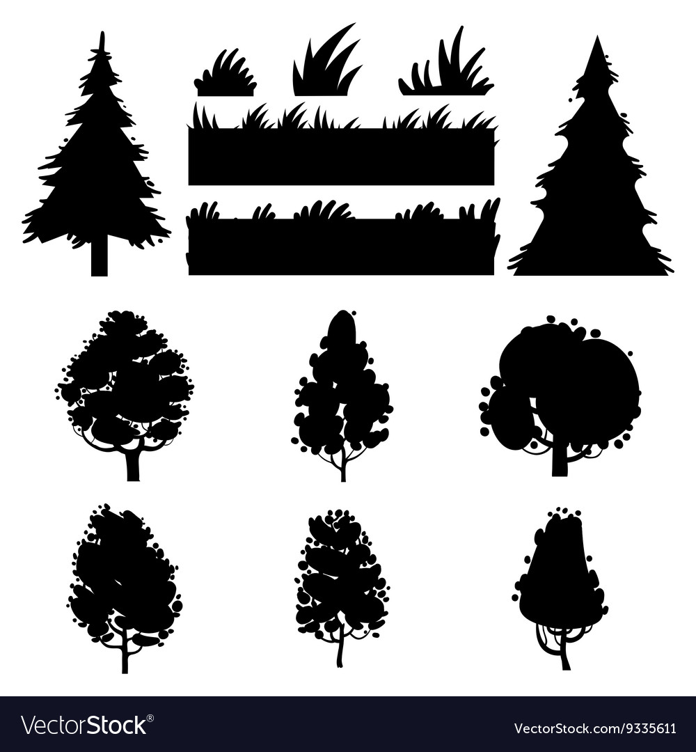 Black trees and grass silhouettes