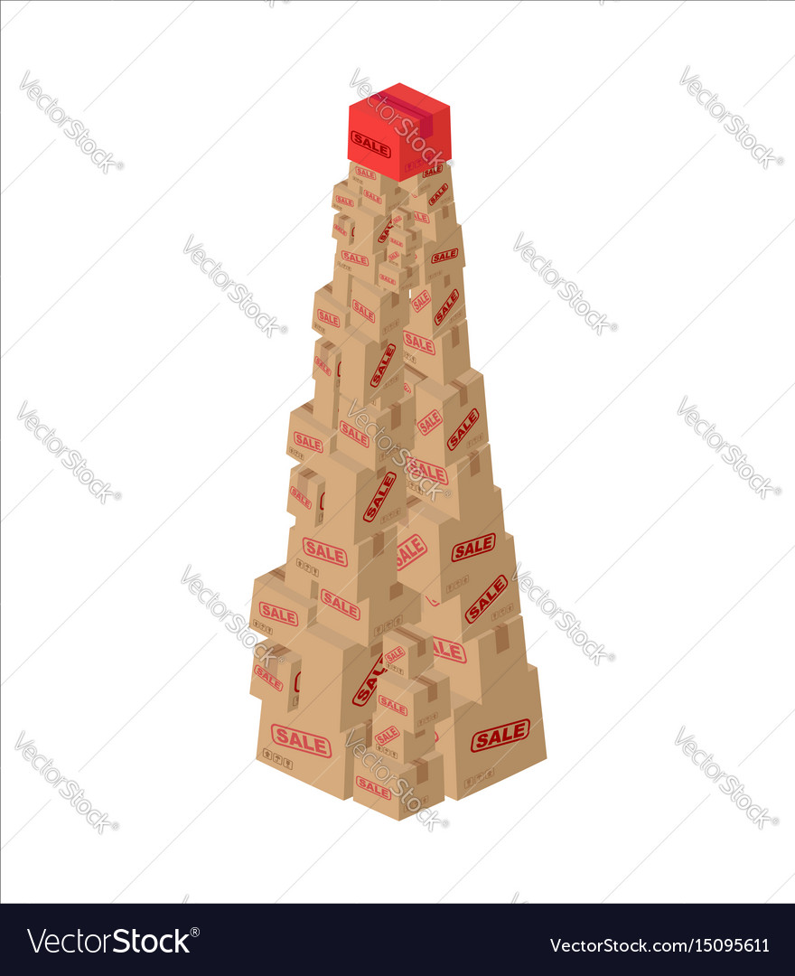 Christmas sale box fir-tree of gifts new year Vector Image