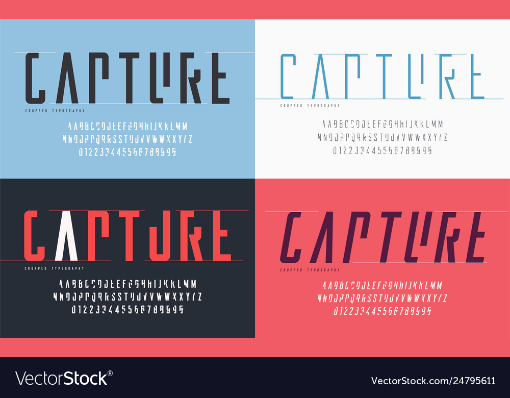 Cropped typography set uppercase letters and