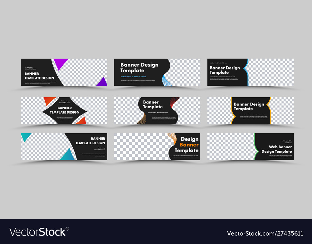 Design horizontal black web banners vector