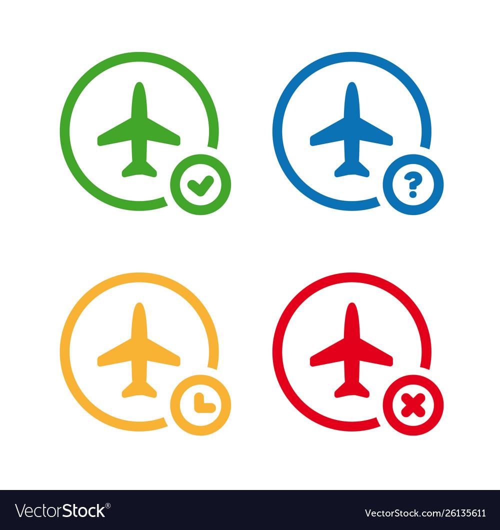 Flight status icons airport information symbol