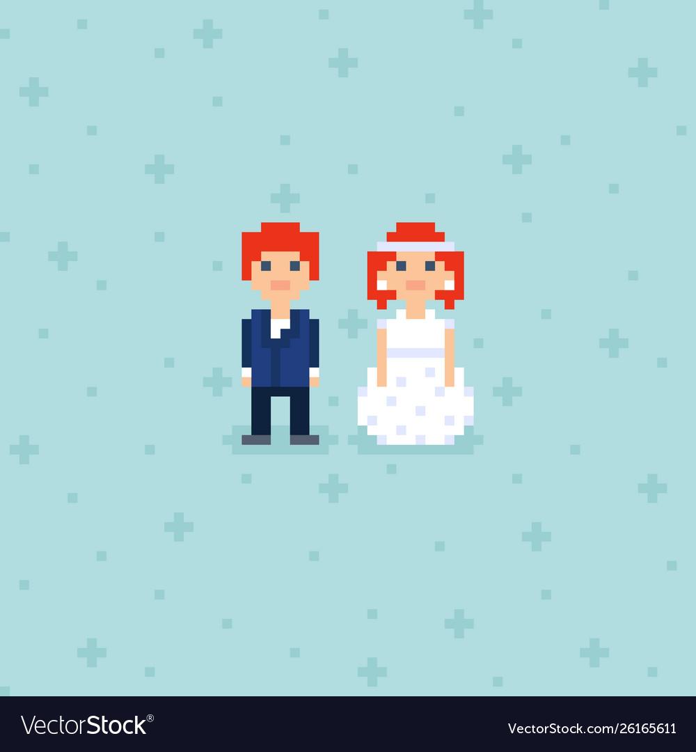 Pixel Art Wedding Couple Characters
