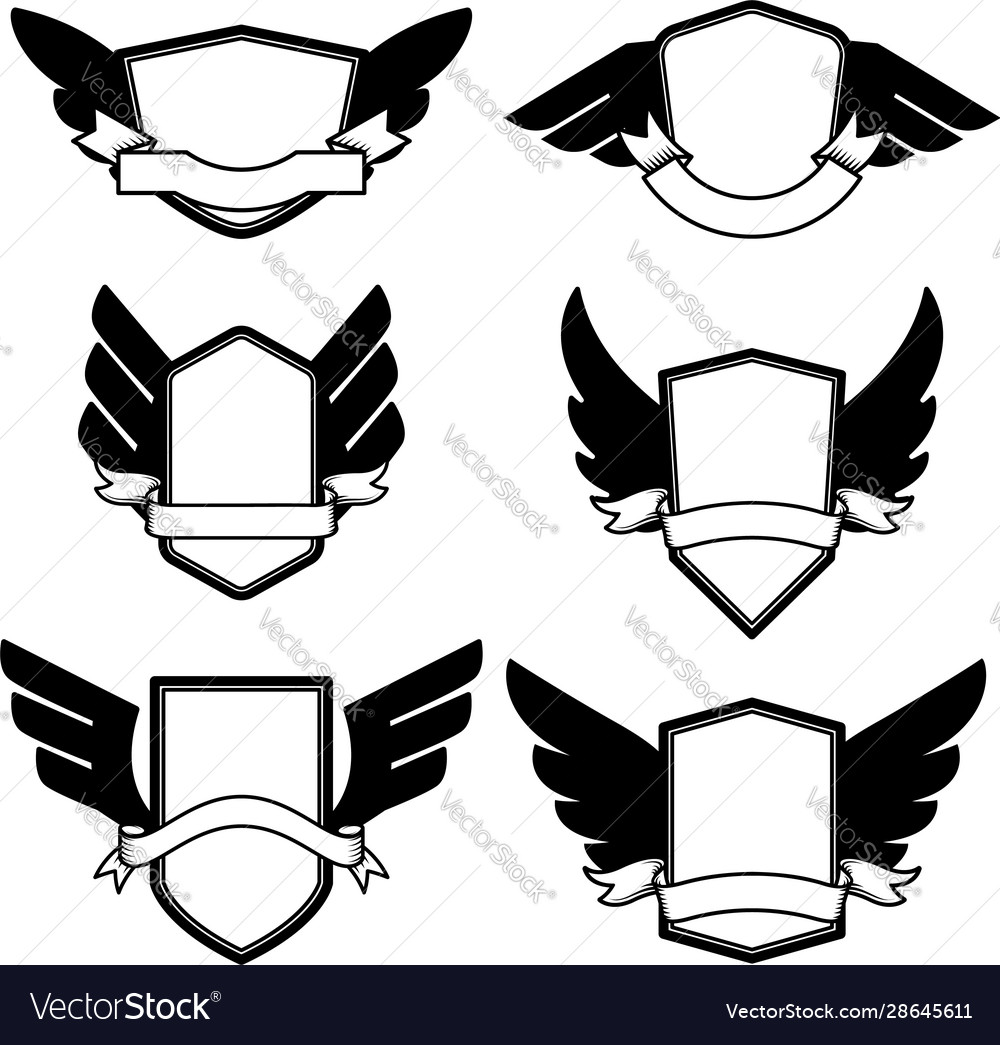 Set emblems with wings design element for logo