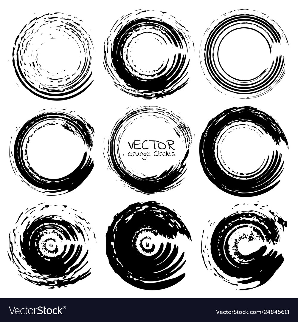 Set grunge circles grunge round shapes