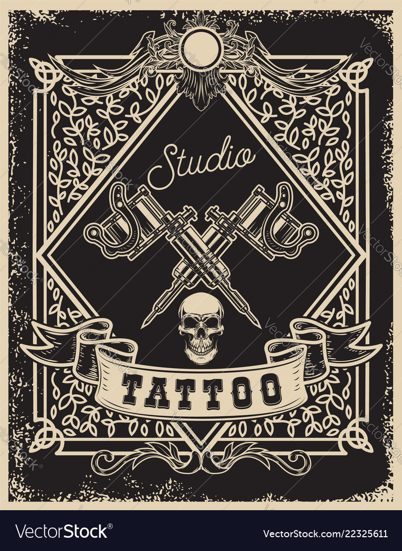 Tattoo studio poster template crossed tattoo vector