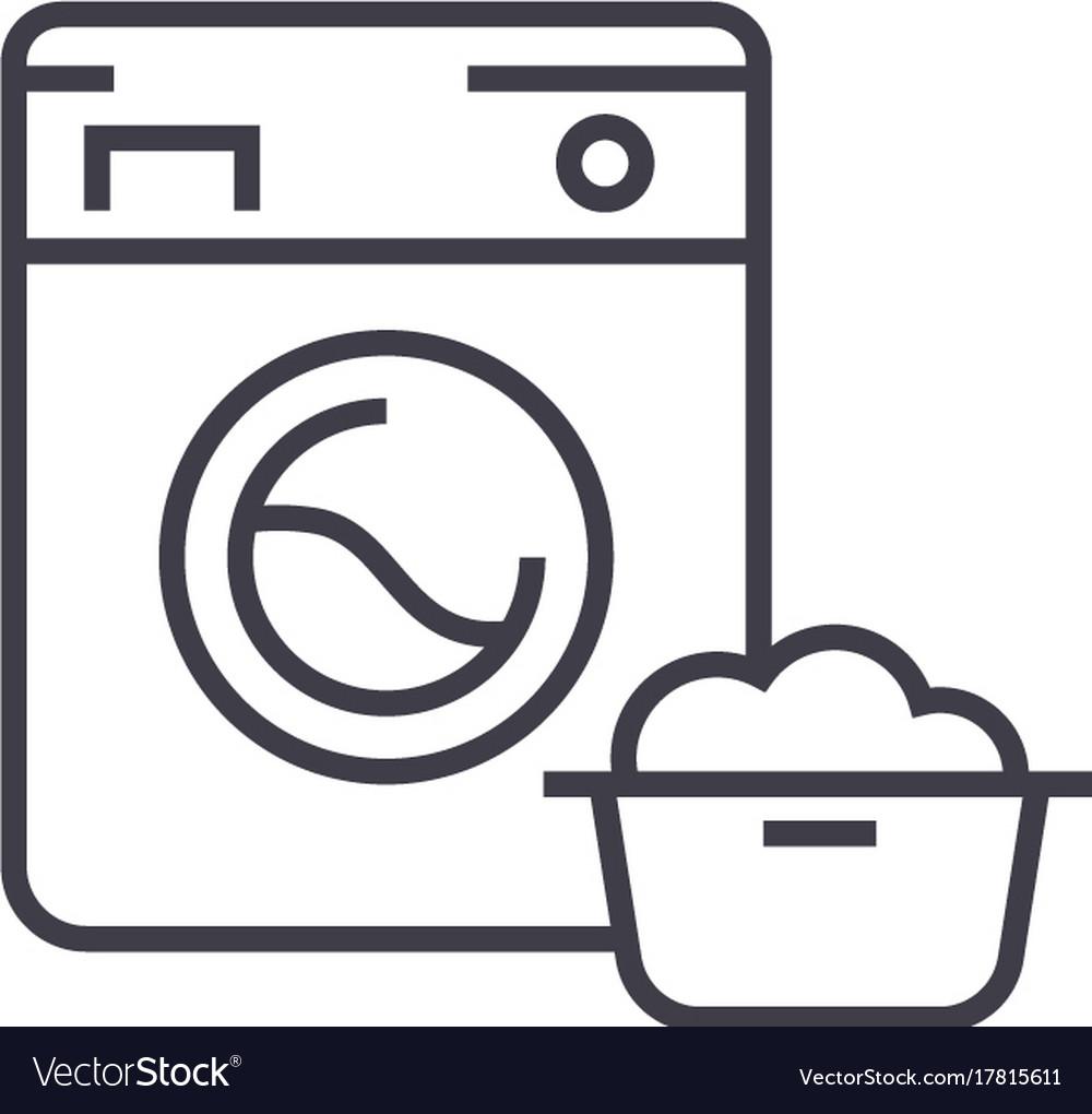Washing machinelaundry service line icon