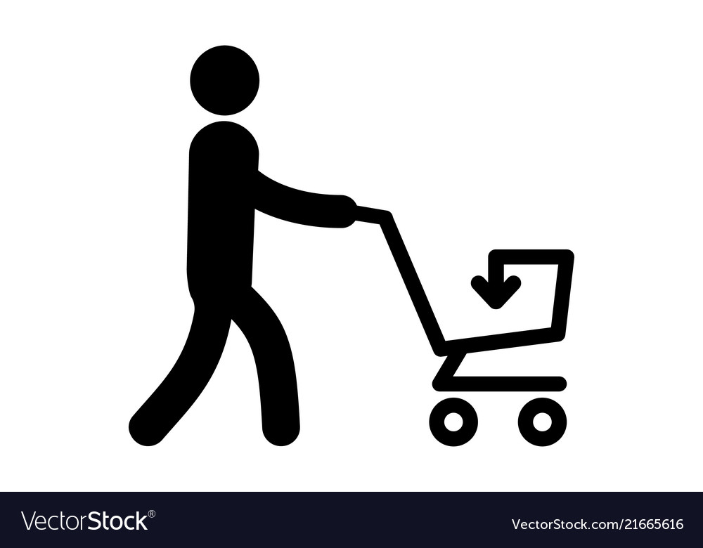 A simple icon of a man with cart