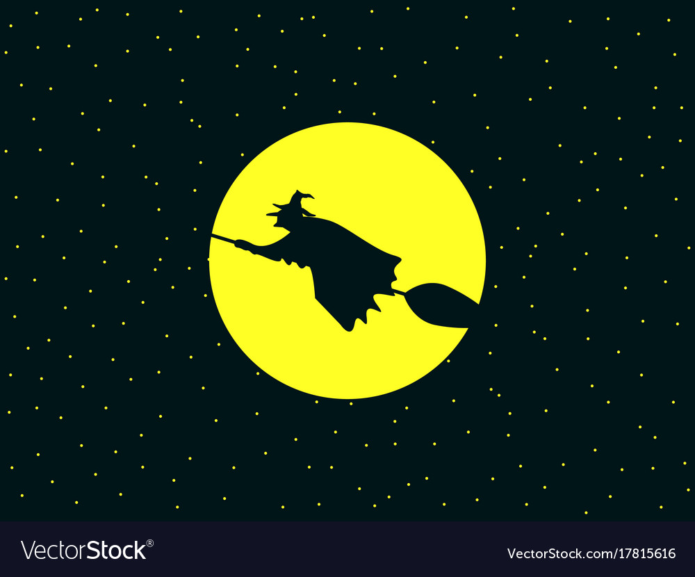 A witch flying on a broomstick against