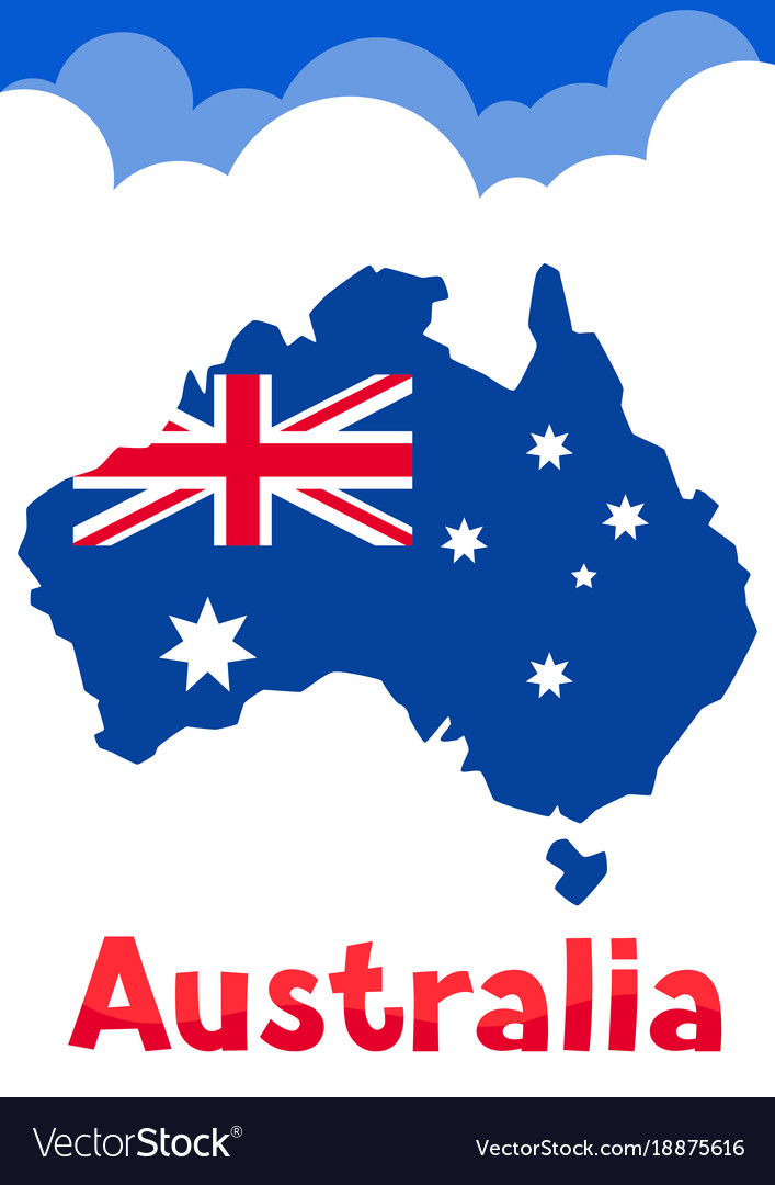 Australia map with flag and clouds Royalty Free Vector Image