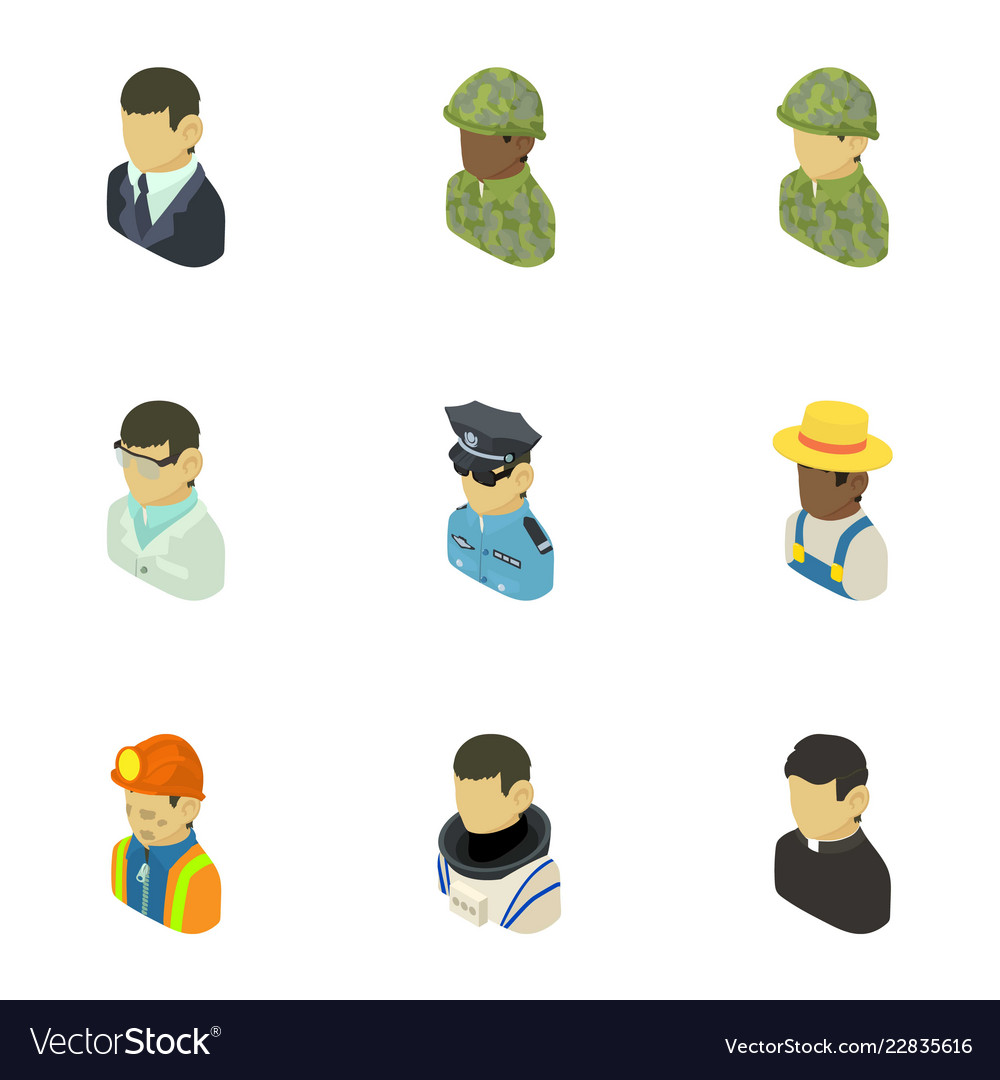 Career icons set isometric style Royalty Free Vector Image 3400df3b6ca2