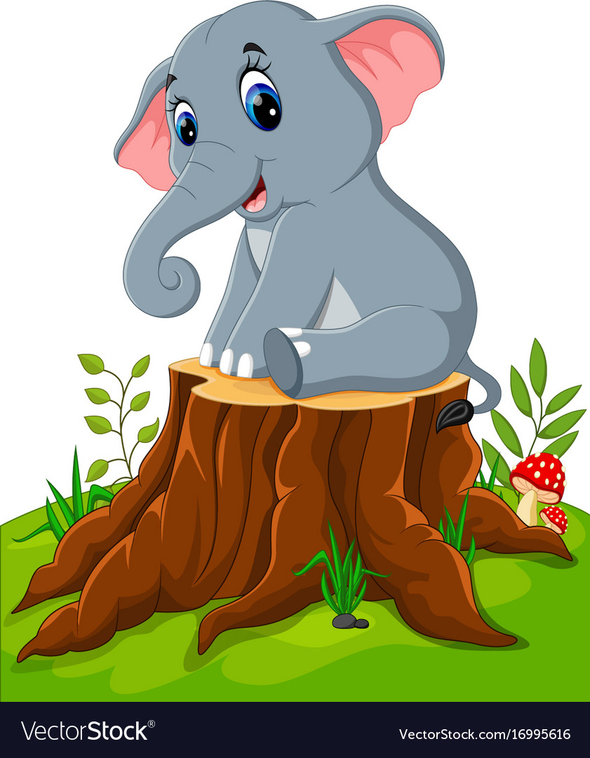 Cartoon cute baby elephant on tree stump vector image