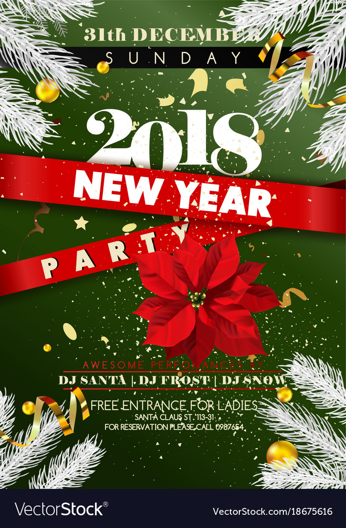new year 2018 party invitation poster vector image