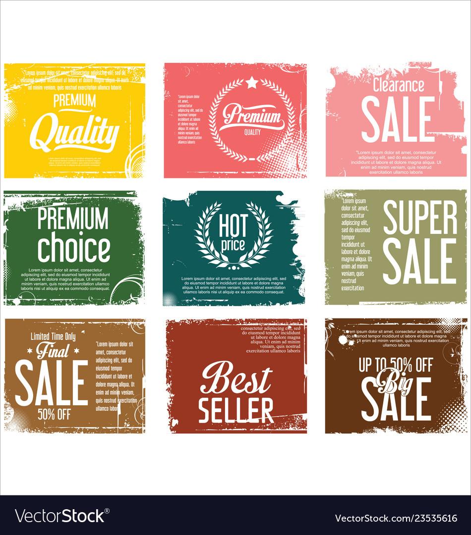 Premium quality retro vintage grunge labels