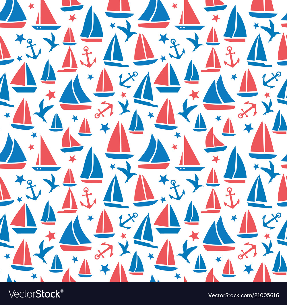 Seamless abstract sea background sailboats on